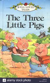 1980s uk the three little pigs book cover stock image