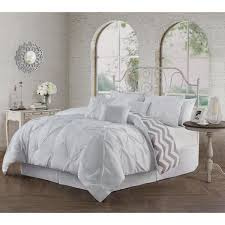 avondale manor ella pinch pleat white queen reversible comforter with bedskirt