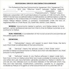 Subcontractor Agreement Format Subcontractor Agreement Template Contract Agreements Formats