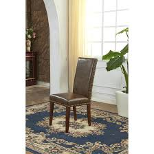 faux leather parsons chairs classic waxed texture parson with nail head set of brown dining chair gray under side for table cream colored room beige white