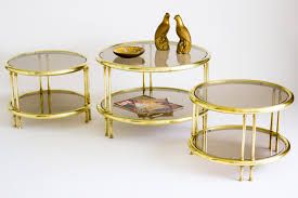 Antique Brass Glass Coffee Table Circular Brass And Glass Coffee Table Janneys Collection Vint Thippo