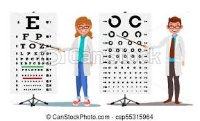 Doctor Chart Ophthalmology Doctor Set Vector Female Male Medical Eye Diagnostic Eye Test Chart In Clinic Diagnostic Of Myopia Medicine Concept Isolated Flat