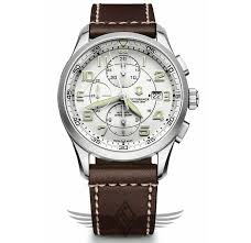 victorinox swiss army airboss mechanical chronograph 42mm steel case leather strap white dial mens watch 241598 oc watch company watch