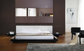 Modern Platform Bedroom Set Black Gloss Finish Modern Platform Bed W White Headboard