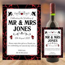 Personalised Wedding Word Art Table Favours Gift Wine Champagne