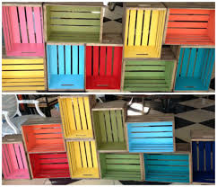 painting shelves ideasdiy wood crate bookcase  The Pleated Poppy
