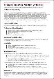 Teacher Assistant Resume Mesmerizing Graduate Teaching Assistant CV Sample MyperfectCV