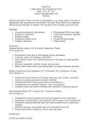 Resume Sample For Construction Worker Http Resumesdesign Com