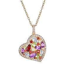 multicolor gemstone heart pendant