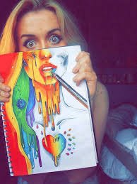 Beauty art rainbow drawing face pretty girl tote-ah-ly awesome!