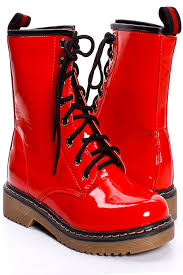 red patent leather combat boots