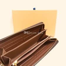 m42616 luxury designer zippy long wallet women s zipper brown wallet mono gram canvers leather check plaid wallet free good qaulity