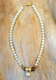 vintage 40s pearl necklace gold tone rhinestone pendant w pearl dangle vtg costume jewelry wedding