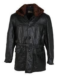 vintage 1940s black horsehide leather belted jacket l