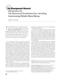 Pdf The Behavioral Event Interview Avoiding Interviewing Pitfalls