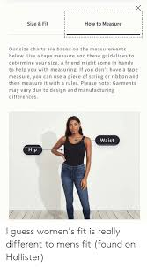 Hollister Size Chart Womens Size Fit How To Measure Our Size Charts Are Based On The
