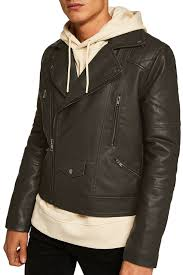 image of topman classic fit faux leather biker jacket