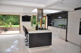 airy modern and sleek kitchen design with bright white flooring plan