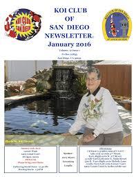 KOI CLUB OF SAN DIEGO NEWSLETTER© January 2016