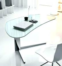 modern glass desk clear curved home office furniture in small throughout fur large for