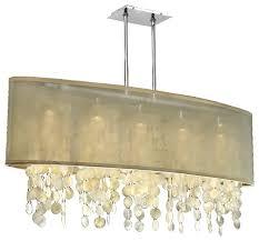 33 w oval shaded capiz shell chandelier soho 626c