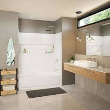 bootz industries aloha 30 in x 60 in x 74 5 in standard fit alcove bath and shower kit with right hand drain in white