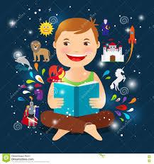 cartoon kid reading fairy tale book