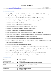 sforce developer resume