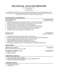 Financial Analyst Resume Format Unique Senior Financial Analyst