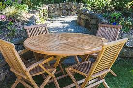 folding 1 2m solid teak round table and folding chair combo garden furniture set