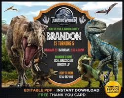 Jurassic Park Invitations Jurassic Park Invite Etsy