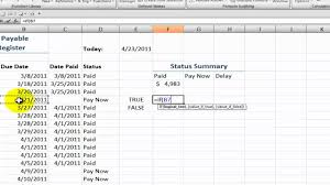 How To Keep Track Of Invoices And Payments How To Create An Accounts Payable Status Summary In Excel Youtube