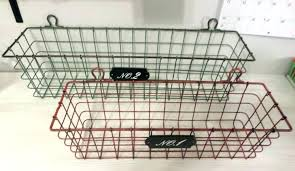 wall mounted basket outstanding wire storage bins full image for regarding popular baskets uk