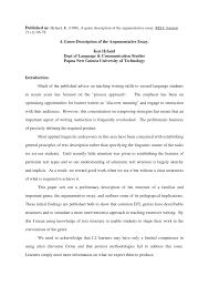 Argumentative Essay Pdf A Genre Description Of The Argumentative Essay