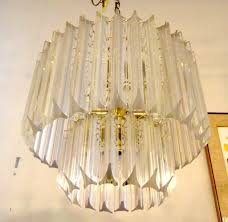 1970s vintage lucite and brass chandelier 1