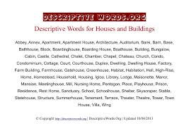 Houses Descriptive Words