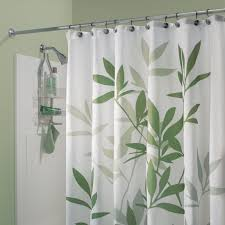 green leaves fabric shower curtain