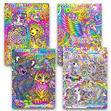 Lisa Frank Adult Coloring Book Set 4 Premium Lisa