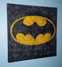 grunge textured batman logo with embossed bat outline acrylic on canvas for on