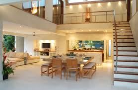 Dining Room Decorating Considerations-and-Living-Room-Design-with-Mezzanine -Floor-Style-Wooden-Furniture-and-Beautiful Mezzanine Design