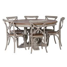 round dining table. Gloucester Grey Distressed Round Dining Table - Set View