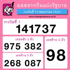 ผลฉลากกินแบ่งรัฐบาล งวดวันที่ 16 พฤษภาคม 2559 - Chiang Mai News