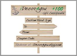 Gift Certificate Sign Idecor4you Last Minute Gift Certificate For Custom Wood Sign Gift