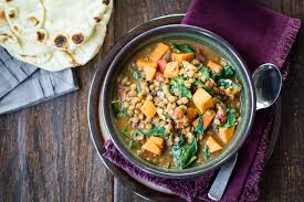 creamy vegan ethiopian lentils savory sweet potato tender lentils and fresh spinach are