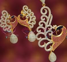 ps1242 exclusive gold design color painting cz peacock pendant set fancy imitation