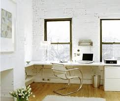 home office white. Monochrome White Home Office With Brick Walls