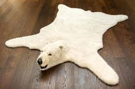 fake polar bear skin rug with head for style faux bear skin rug