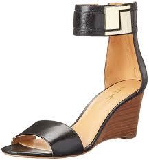 nine west nicetime leather wedge sandal in black color