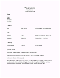 No Job Resumes No Job Experience Resume Template New Release Acting Resume