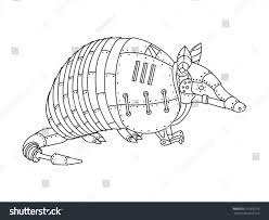 Small Picture Steampunk Style Armadillo Mechanical Animal Coloring Stock Vector